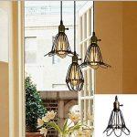 KINGSO E27 Lampe Suspension Lustre Cage en fer Abat-jour avec Douille Eclairage de Plafond Style Industrielle Vintage Retro(sans ampoule) de la marque KINGSO image 1 produit