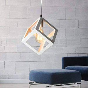 KINGSO E27 Lampe Suspensions Plafonnier Abat-jour Lustre avec Douille Applique d'Eclairage Murale Retro Industriel Blanc de la marque KINGSO image 0 produit
