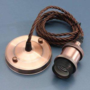 KINGSO E27 Lustre Suspension Vintage Retro Culot de Lampe Edison Antique 110-250V Adaptateur de Douille Cuivre avec Cable de 2m Or Rose de la marque KINGSO image 0 produit