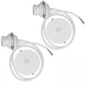 kwmobile 2x câble électrique pour lampe - Câble avec douille E27 et bague de fixation - Monture de suspension pour luminaire plafond - Blanc de la marque kwmobile image 0 produit