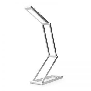 kwmobile Lampe de bureau LED - Luminaire pliable en aluminium sans fil avec micro-USB et crochet amovible - Lumière table de nuit salon - argenté de la marque kwmobile image 0 produit