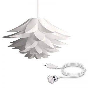kwmobile Lampe puzzle design lotus - Abat-jour XL à monter - Luminaire IQ plafond - Ensemble avec câble 5m prise secteur interrupteur et douille E27 de la marque kwmobile image 0 produit