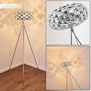 Lampadaire Abisko en métal chromé - Lampe à pied pour chambre à coucher - séjour - bureau - Ce lampadaire a un interrupteur sur le câble de la marque hofstein image 0 produit