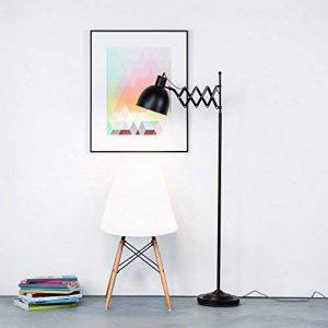 Lampadaire au design rétro avec joint Ciseaux et câble textile, noir mat, pied Interrupteur, hauteur 150cm, 1x E27max. 40W, métal de la marque Lightbox image 0 produit