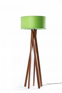Lampadaire design haut de gamme avec trépied en véritable bois de noyer et abat-jour en chintz vert Hauteur 160 cm Lampe sur pied fabriquée à la main de la marque DL-designerlampen image 0 produit