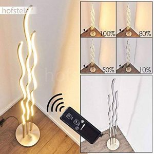 Lampadaire en acier, nickel mat - Lampadaire LED pour chambre - salon - Cette lampe est Tamisable grâce à la télécommande fournie de la marque hofstein image 0 produit
