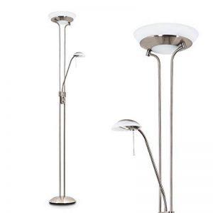 Lampadaire en métal de couleur nickel mat - Luminaire intensité variable - bras de lecture réglable - salon - séjour - chambre à coucher de la marque Hofstein image 0 produit