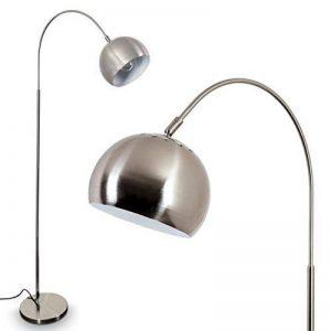 Lampadaire Flisa en métal de couleur nickel mat - Luminaire avec spot ajustable pour salon - chambre à coucher - séjour - cuisine de la marque HOFSTEIN image 0 produit