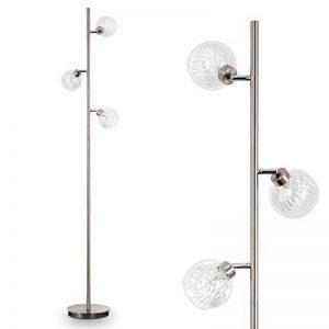 Lampadaire Iskuras en métal/nickel mat - Luminaire à 3 lampes pour salon - chambre à coucher - bureau - avec interrupteur au pied sur câble de la marque hofstein image 0 produit