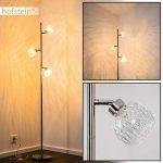 Lampadaire Iskuras en métal/nickel mat - Luminaire à 3 lampes pour salon - chambre à coucher - bureau - avec interrupteur au pied sur câble de la marque hofstein image 1 produit
