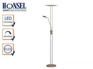 Lampadaire LED avec liseuse Merkur à intensité variable Nickel mat/Aspect bois, verre acrylique blanc satiné de la marque Honsel image 0 produit