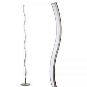 Lampadaire LED Dillon - Luminaire nickel mat au design ondulé - Eclairage de teinte Blanc chaud - Lampe avec interrupteur à pied de la marque hofstein image 0 produit
