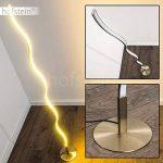 Lampadaire LED Dillon - Luminaire nickel mat au design ondulé - Eclairage de teinte Blanc chaud - Lampe avec interrupteur à pied de la marque hofstein image 1 produit