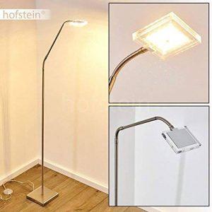 Lampadaire LED Fansen en métal de couleur chrome / nickel mat - Luminaire sur pied hauteur ajustable - salon - chambre coucher - salle à manger de la marque HOFSTEIN image 0 produit