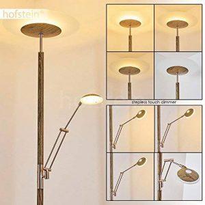 Lampadaire LED Ligona en métal, aspect bois, éléments nickel mat - Variateur d'intensité lumineuse - La lampe principale et la liseuse sont réglables indépendamment - Liseuse ajustable - Lampadaire pour salon - bureau - chambre de la marque hofstein image 0 produit