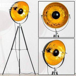Lampadaire tripode Saturn XL noir avec réflecteur doré - Lampadaire projecteur de cinéma avec globe pivotant et hauteur ajustable - Luminaire design vintage adapté aux ampoules LED de la marque hofstein image 0 produit