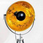 Lampadaire tripode Saturn XL noir avec réflecteur doré - Lampadaire projecteur de cinéma avec globe pivotant et hauteur ajustable - Luminaire design vintage adapté aux ampoules LED de la marque hofstein image 2 produit