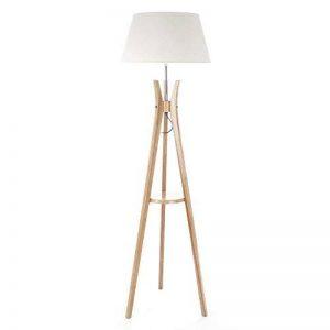 Lampadaire trépied avec tablette - Esprit industriel - Pied en bois et abat-jour BLANC CASSE de la marque Atmosphera image 0 produit
