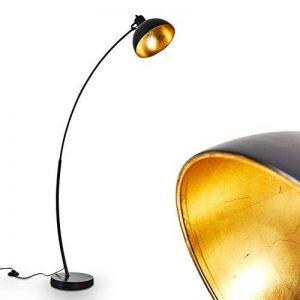 Lampadaire vintage en métal doré/ noir - Lampe d'intérieur pour chambre, salon, salle à manger - Lampadaire rétro avec grand abat-jour rond et interrupteur au pied de la marque hofstein image 0 produit
