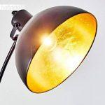Lampadaire vintage en métal doré/ noir - Lampe d'intérieur pour chambre, salon, salle à manger - Lampadaire rétro avec grand abat-jour rond et interrupteur au pied de la marque hofstein image 3 produit