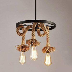 Lampadaires de style américain Retro Creative Plafonnier Luminaires de salon Lustre de chaise de corbeau de l'industrie de la corde rurale (conception : 1) de la marque Shubiao image 0 produit