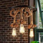 Lampadaires de style américain Retro Creative Plafonnier Luminaires de salon Lustre de chaise de corbeau de l'industrie de la corde rurale (conception : 1) de la marque Shubiao image 1 produit
