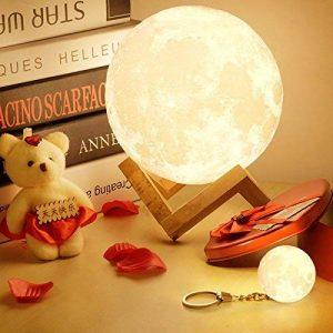 Lampe 3D lune tactile (avec un joli emballage) cadeau créatif lampe de nuit lampe art deco lampe veilleuse pour maison chambre bureau salon avec USB(12CM-mieux pour l'enfant) de la marque Wenscha image 0 produit