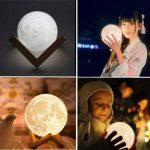 Lampe 3D lune tactile (avec un joli emballage) cadeau créatif lampe de nuit lampe art deco lampe veilleuse pour maison chambre bureau salon avec USB(12CM-mieux pour l'enfant) de la marque Wenscha image 3 produit