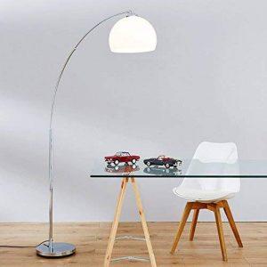 Lampe à arc moderne en chrome avec abat-jour en plastique, H 166 cm, 1x E27 max. 60W, métal / plastique, chromé / blanc de la marque Lightbox image 0 produit