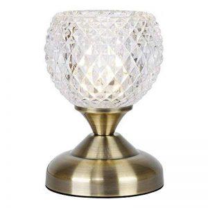 Lampe avec Variateur Tactile/Touch de Chevet Classique. Fini en Laiton Vieille et en Verre Clair Taillé de la marque MiniSun image 0 produit