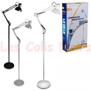 LAMPE BUREAU ARCHITECTE SUR PIED 2m BRAS ARTICULE ORIENTABLE 60w NOIR de la marque DC image 0 produit