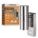 Lampe d'extérieur SEBSON avec détecteur de mouvement, applique murale, acier inoxydable, haut et bas2ampoules GU10LED 4W (3,5 W) - Blanc froid de la marque sebson image 2 produit