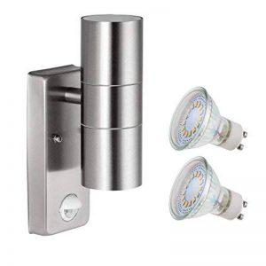 Lampe d'extérieur SEBSON avec détecteur de mouvement, applique murale, acier inoxydable, haut et bas2ampoules GU10LED 4W (3,5 W) - Blanc froid de la marque sebson image 0 produit