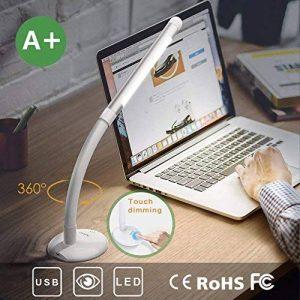 Lampe de Bureau, 10W Lampe de Table LED, Port USB de Recharge, touch Control dimmable, Cou Flexible 135°, 1 heure éteint automatiquement la lumière, Noir, Protection des yeux, Économie d'énergie, A+ de la marque Aglaia image 0 produit