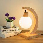 Lampe de bureau nordique en bois massif SYAODU lignes de bois naturelles, abat-jour en verre, lampe de chevet E27, salon chambre hôtel décoration éclairage de la marque SYAODU image 3 produit