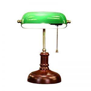 Lampe de bureau traditionnelle en bois de banquiers en bois, abat-jour en verre vert, lampe de table pour étude de bureau de chambre à coucher de lecture, 23cm * 42cm (9inch * 16.5inch) de la marque LTH image 0 produit