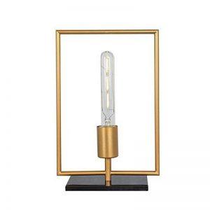 Lampe de bureau WAYKING avec ampoule LED 4.5W, lampe de table décorative et veilleuse avec base en marbre noir et abat-jour en métal doré rectangle de la marque WAYKING image 0 produit