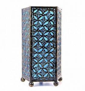 Lampe de chevet artisanale H30cm fer forgé et tissu bleu turquoise de la marque Artisanal image 0 produit