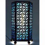 Lampe de chevet artisanale H30cm fer forgé et tissu bleu turquoise de la marque Artisanal image 1 produit