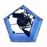 Lampe de chevet artisanale H30cm fer forgé et tissu bleu turquoise de la marque Artisanal image 3 produit