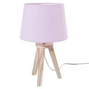 Lampe de chevet avec pied en bois naturel - Style Nordique - Coloris ROSE de la marque DEPOTMANIA image 0 produit
