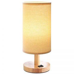 Lampe de chevet en bois Petit rond vintage avec abat-jour beige et lampe de bureau E27 LED style maison de campagne de la marque HAMLITE image 0 produit