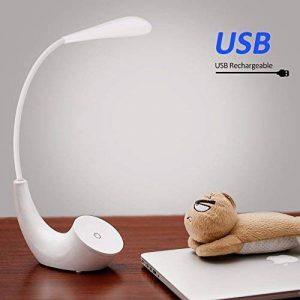 Lampe de Chevet LED, USB Rechargeable Sans Fil 3 Niveaux de Luminosité Contrôle Tactile, 5500K Blanc du Jour Lampe de Lecture Lumière Yeux Protégés, Lampe de Table avec Col de Cygne Flexible Blanche de la marque EECOO image 0 produit