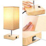 Lampe de chevet vintage en bois avec port USB (5 V/2,1 A), couleur beige, abat-jour E27 Base LED, lampe de bureau, lampe de table, style maison de campagne de la marque HAMLITE image 2 produit