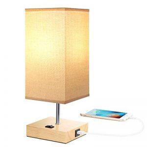 Lampe de chevet vintage en bois avec port USB (5 V/2,1 A), couleur beige, abat-jour E27 Base LED, lampe de bureau, lampe de table, style maison de campagne de la marque HAMLITE image 0 produit