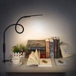 Lampe de Lecture, ACCEWIT Lampe LED à Pince Dimmable avec Télécommande et Contrôle Tactile, Lampe de Bureau Table Moderne Flexible Pliable Multipurpose Protection des Yeux Col de Cygne 360° Rotatif Fonction Mémoire 5 Niveaux de Luminosité et 5 Température image 4 produit