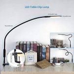 Lampe de Lecture, ACCEWIT Lampe LED à Pince Dimmable avec Télécommande et Contrôle Tactile, Lampe de Bureau Table Moderne Flexible Pliable Multipurpose Protection des Yeux Col de Cygne 360° Rotatif Fonction Mémoire 5 Niveaux de Luminosité et 5 Température image 2 produit