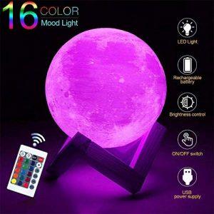 Lampe de lune 3d, KingOne contrôle tactile Lampe de chevet Nuit LED avec 3 Mode Moon Lamp avec télécommande Lampe sur pied moderne USB rechargeable 3 couleurs différentes pour maison, dormidorio cadeau pour anniversaire (Coloré 15cm/6Inch) de la marque KI image 0 produit