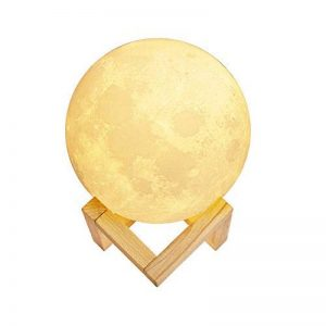 Lampe de lune 3d, KingOne contrôle tactile Lampe de chevet Nuit LED avec 3 Mode Moon Lamp avec télécommande Lampe sur pied moderne USB rechargeable 3 couleurs différentes pour maison, dormidorio cadeau pour anniversaire (Coloré 3d Drucken 20cm/8Inch) de l image 0 produit