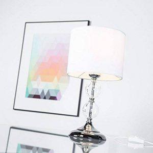Lampe de table avec abat-jour en verre décoratif 38 cm-hauteur de la décoration de salon e27 chromé/blanc de la marque Lightbox image 0 produit